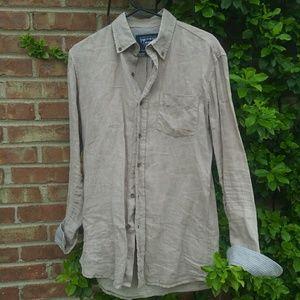 The new ivy brand tan linen mens shirt M